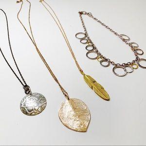 Set of 4 Necklaces Rose Gold Silver J58